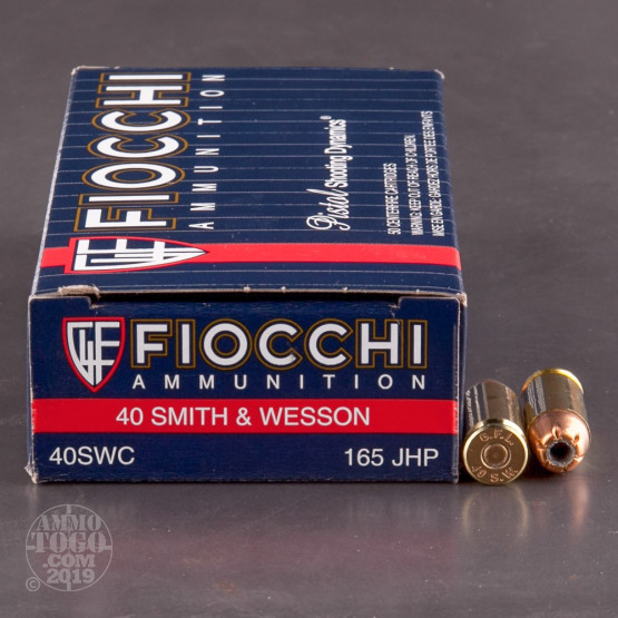 50rds - 40 S&W Fiocchi 165gr. Jacketed Hollow Point Ammo