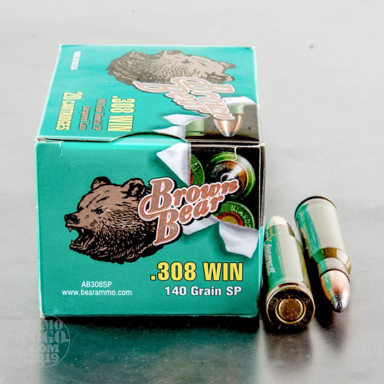 500rds - .308 Brown Bear 140gr. Soft Point Ammo