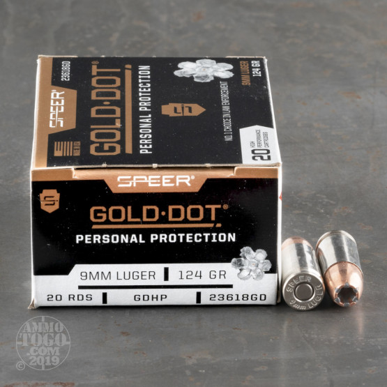 500rds - 9mm Speer Gold Dot 124gr. +P Bonded HP Ammo