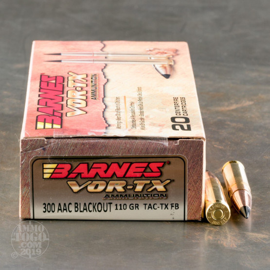 20rds - 300 AAC BLACKOUT Barnes 110gr. TAC-TX Ammo