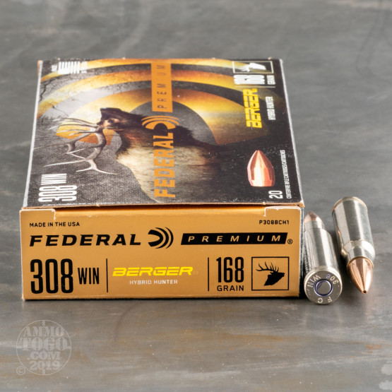 20rds – 308 Win Federal 168gr  Berger Hybrid Hunter Ammo