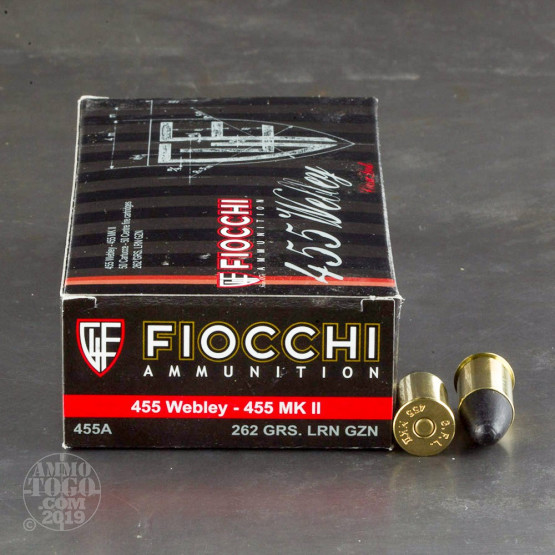 50rds - 455 Webley Fiocchi 262gr. Lead Round Nose Ammo