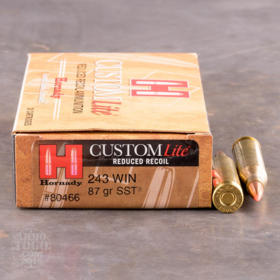 20rds - 243 Win  Hornady Custom Lite Reduced Recoil 87gr  SST Polymer Tip  Ammo