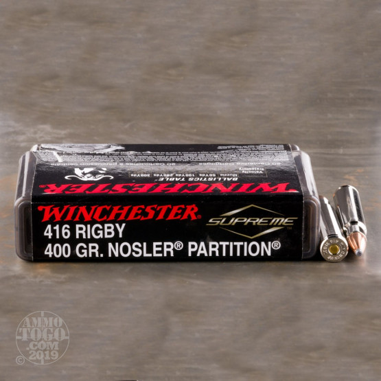 20rds - 416 Rigby Winchester Supreme 400gr. Nosler Partition Ammo
