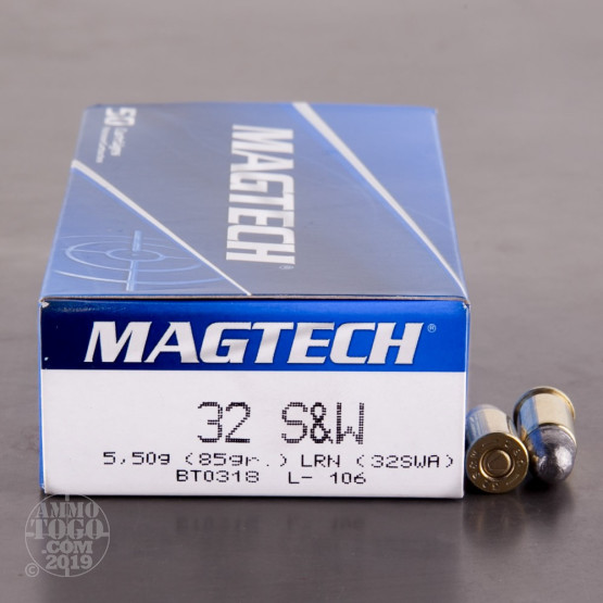 50rds - 32 S&W (Short) MAGTECH 85gr. Lead Round Nose Ammo