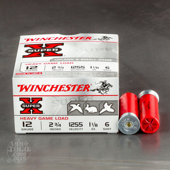 "25rds - 12 Gauge Winchester Super-X Heavy Game Load 2 3/4"" 1 1/8oz. #6 Shot Ammo"