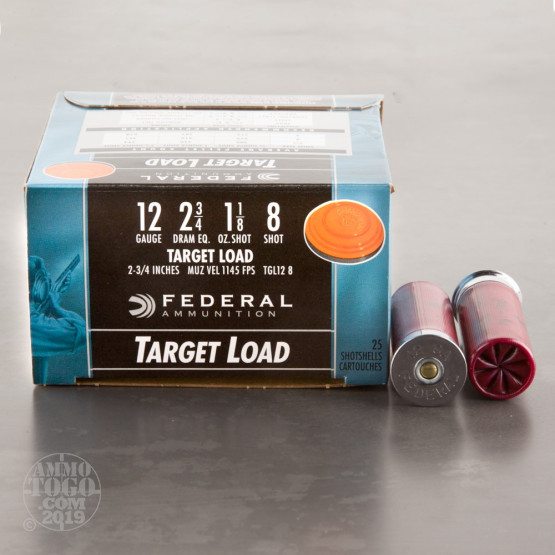 "25rds – 12 Gauge Federal Top Gun Target Load 2-3/4"" 1-1/8oz. #8 Shot Ammo"