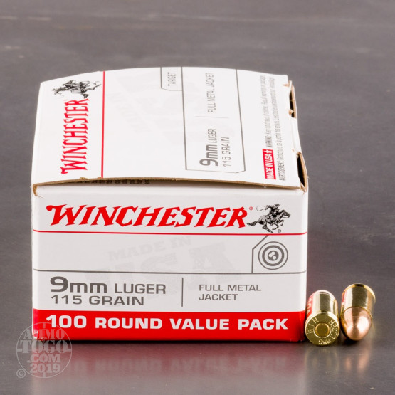 100rds - 9mm Winchester USA 115gr. FMJ Value Pack Ammo