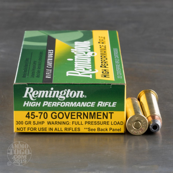 20rds - 45-70 Govt Remington High Performance Rifle 300gr. SJHP Ammo