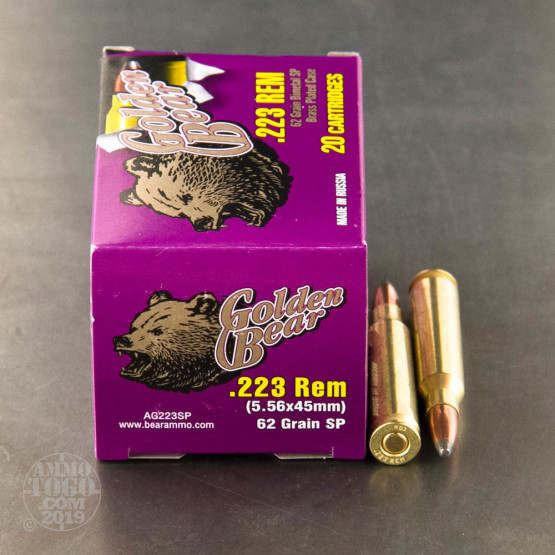 20rds - 223 Golden Bear 62gr. Soft Point Ammo