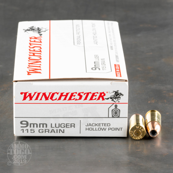 50rds - 9mm Winchester USA 115gr. Hollow Point Ammo