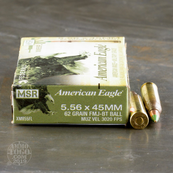500rds – 5.56x45mm Federal American Eagle XM855 62gr. FMJBT Ammo