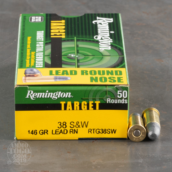 50rds - 38 S&W Remington Target 146gr. LRN Ammo