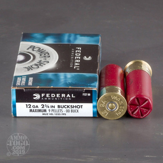 "5rds – 12 Gauge Federal Power-Shok 2-3/4"" 00 Buckshot Ammo"