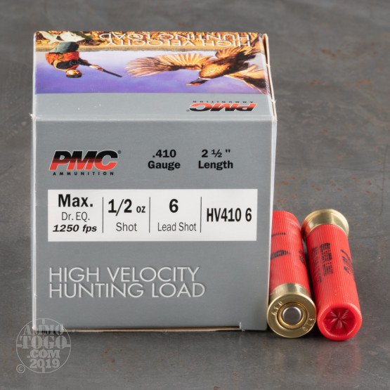 """250rds – 410 Gauge PMC High Velocity Hunting Load 2-1/2"""" 1/2oz. #6 Shot Ammo"""