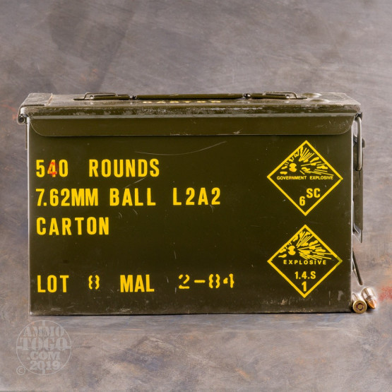 540rds - 7.62x51mm NATO Malaysian Surplus Ammo Can 146gr. FMJ Ammo