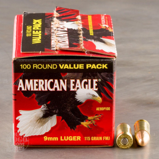 100rds - 9mm Federal American Eagle 115gr  FMJ Ammo