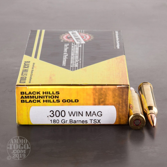 20rds - 300 Win Mag Black Hills Gold 180gr. TSX HP Ammo