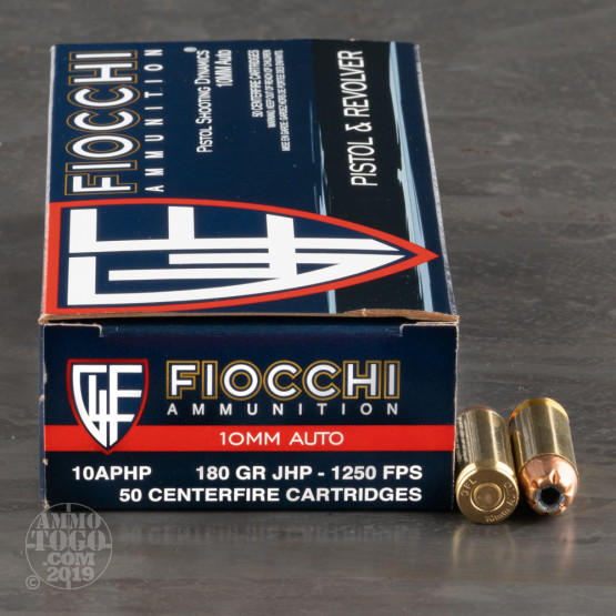 50rds – 10mm Fiocchi 180gr. JHP Ammo