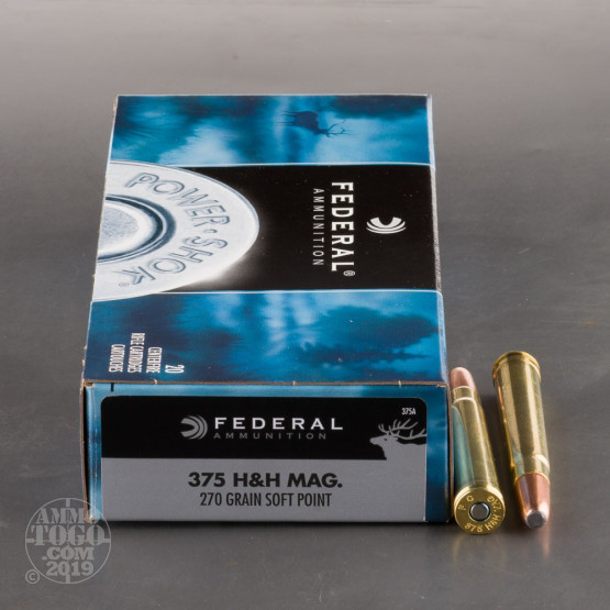 20rds – 375 H&H Mag Federal Power-Shok 270gr. Soft Point Ammo
