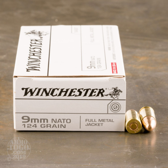 50rds - 9mm Winchester NATO Mil-Spec 124gr. FMJ Ammo