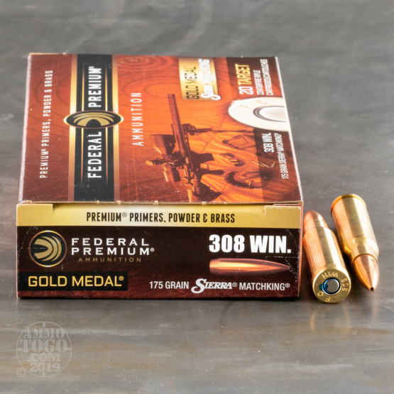 200rds - 308 Federal Gold Medal Match 175gr. BTHP Ammo