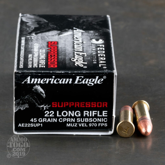 50rds – 22 LR Federal American Eagle Rimfire Suppressor 45gr. CPRN Ammo