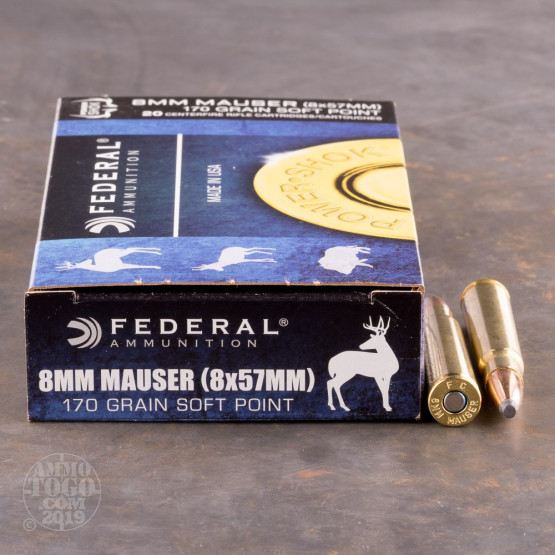 20rds - 8mm Mauser Federal Power-Shok 170gr. Soft Point Ammo