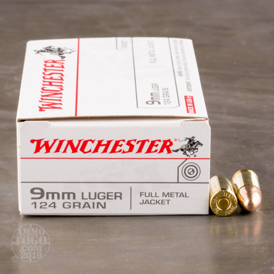 50rds - 9mm Winchester USA 124gr. FMJ Ammo