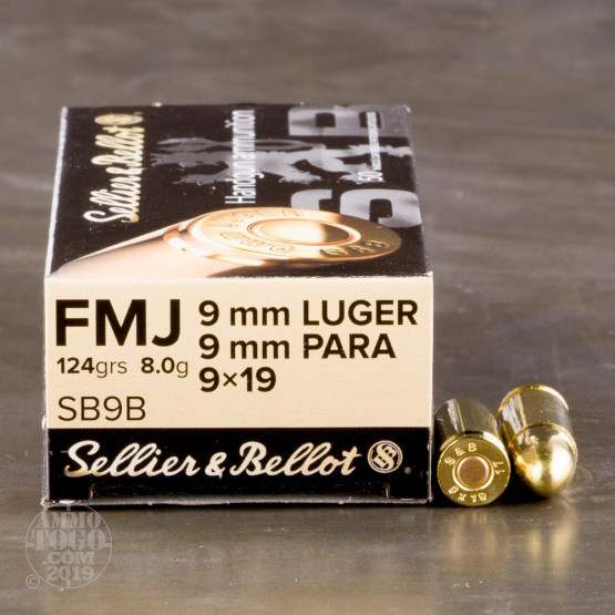50rds - 9mm Sellier & Bellot 124gr FMJ Ammo