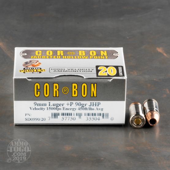 20rds - 9mm Corbon 90gr  +P Hollow Point Ammo