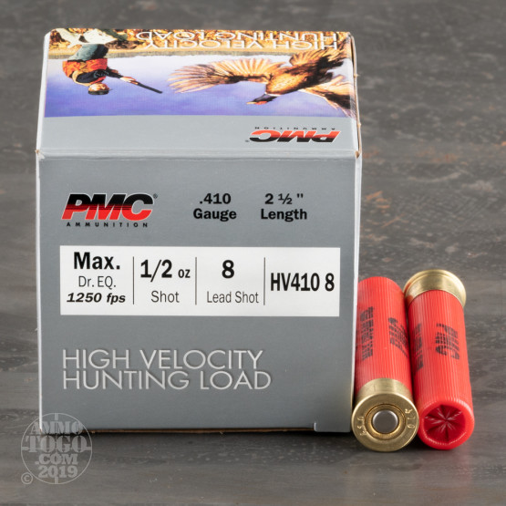"""25rds – 410 Gauge PMC High Velocity Hunting Load 2-1/2"""" 1/2oz. #8 Shot Ammo"""