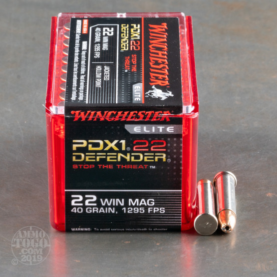 50rds - 22 Mag Winchester Defender PDX1 40gr. JHP Ammo