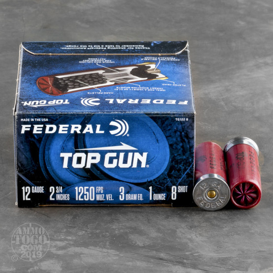 "25rds - 12 Gauge Federal Top Gun 2 3/4"" 3 Dram 1 oz. #8 Shot Ammo"