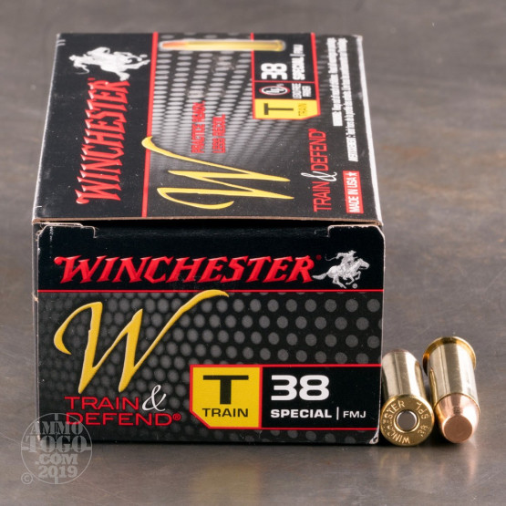 50rds - 38 Special Winchester W Train and Defend 130gr. FMJ Ammo