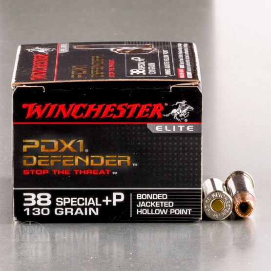 20rds – 38 Special +P Winchester Defender 130gr. PDX1 Bonded JHP Ammo