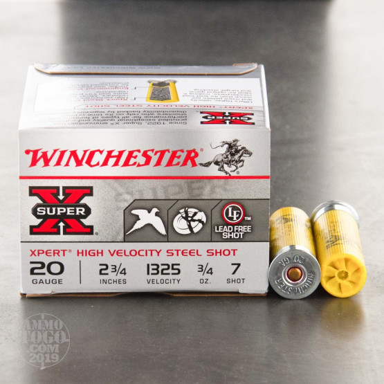 "250rds - 20 Gauge Winchester Super-X 2-3/4"" 3/4 Ounce #7 Steel Shot Ammo"