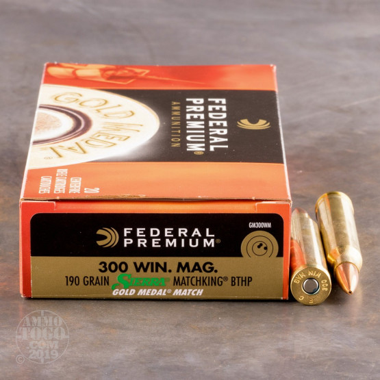 20rds – 300 Win Mag Federal Gold Medal 190gr. BTHP MatchKing Ammo