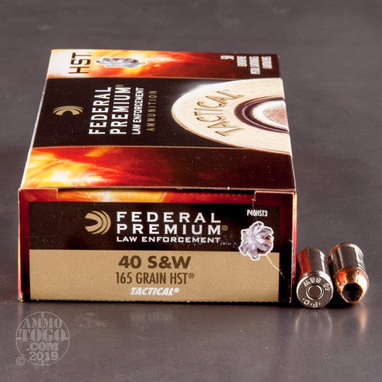 1000rds – 40 S&W Federal Premium Law Enforcement 165gr. HST JHP Ammo