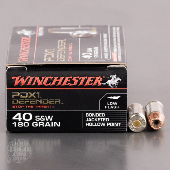 20rds – 40 S&W Winchester Defender 180gr. PDX1 Bonded JHP Ammo