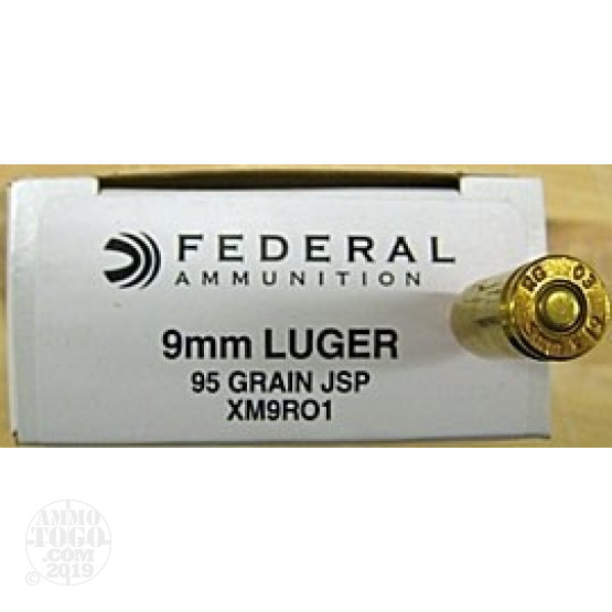50rds - 9mm Federal British Military 95gr. Jacketed Soft Point