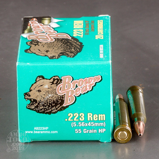 20rds – 223 Brown Bear 55gr. HP Ammo