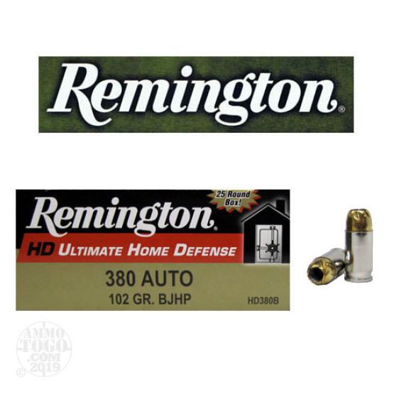 380 Auto 102 gr JHP Home Defense Reminton Ammo For Sale