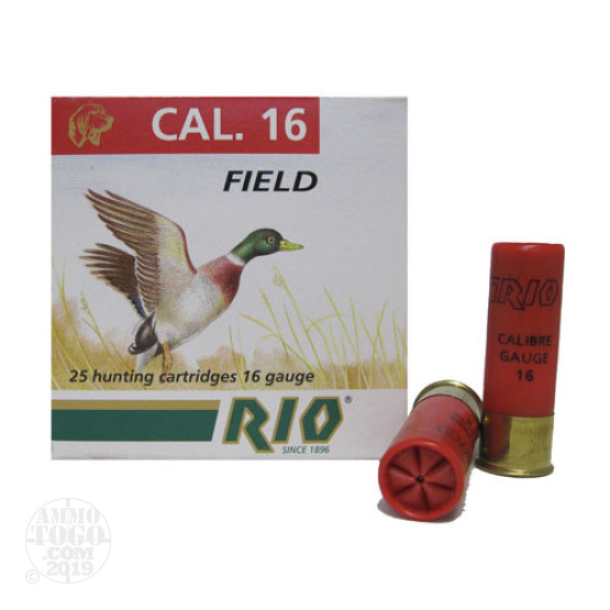 "25rds - 16 Gauge Rio Game Heavy Field C 16 2 3/4"" 1 1/8oz. #8 Shot Ammo"