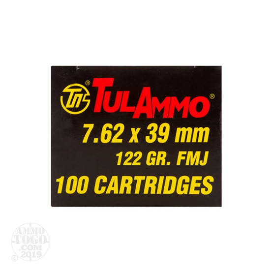 100rds - 7.62x39 Tula Cartridge Works 122gr. FMJ Ammo