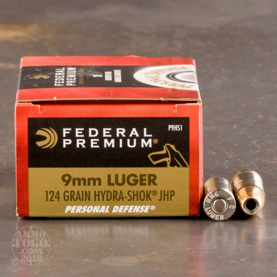 20rds - 9mm Federal 124gr. Hydra-Shok HP Ammo