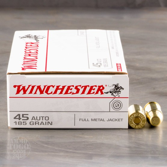 50rds - 45 ACP Winchester USA 185gr. FMJ Ammo