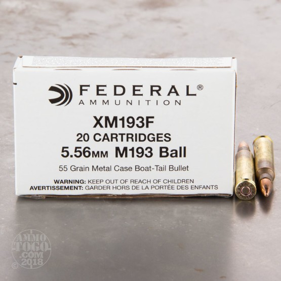 20rds - 5.56 Federal Lake City XM193F 55gr. FMJ Ammo