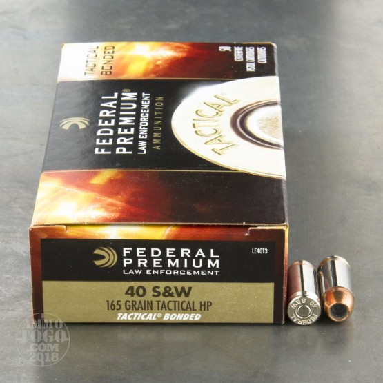 50rds - 40 S&W Federal LE Tactical Bonded 165gr. HP Ammo