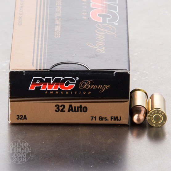 50rds - 32 Auto PMC Bronze 71gr. FMJ Ammo